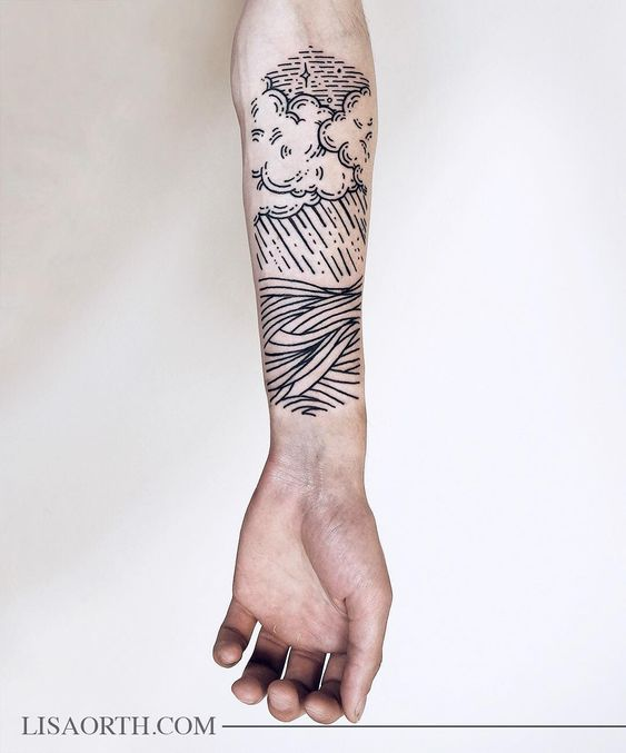 Clouds and Landscape Line Drawing Tattoo
