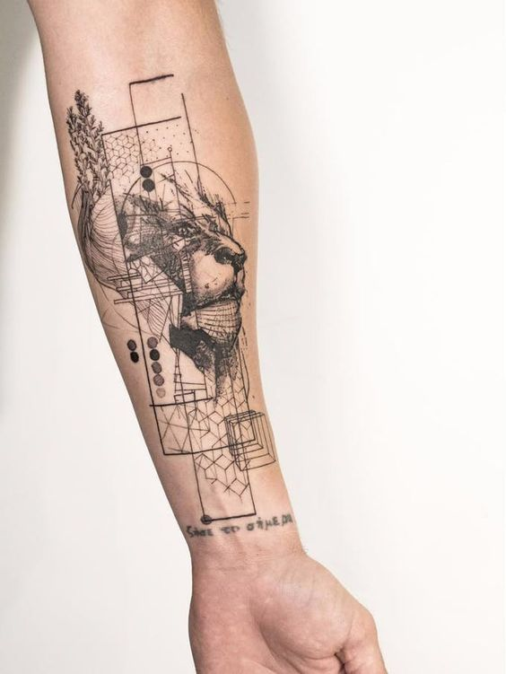 Intricate Architectural Lion Tattoo in Grayscale
