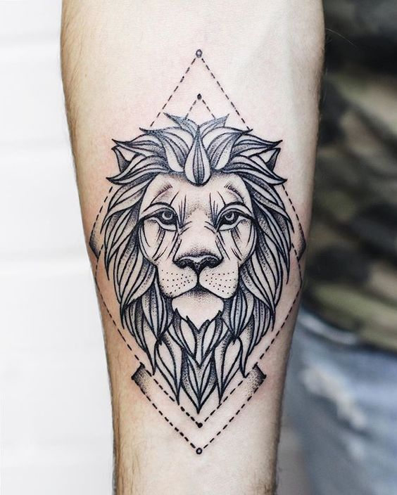Grayscale Lion Tattoo with Diamond Outline