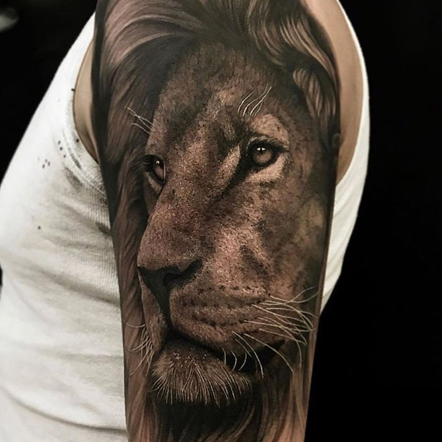 Realism Style Lion Head Tattoo in Grayscale