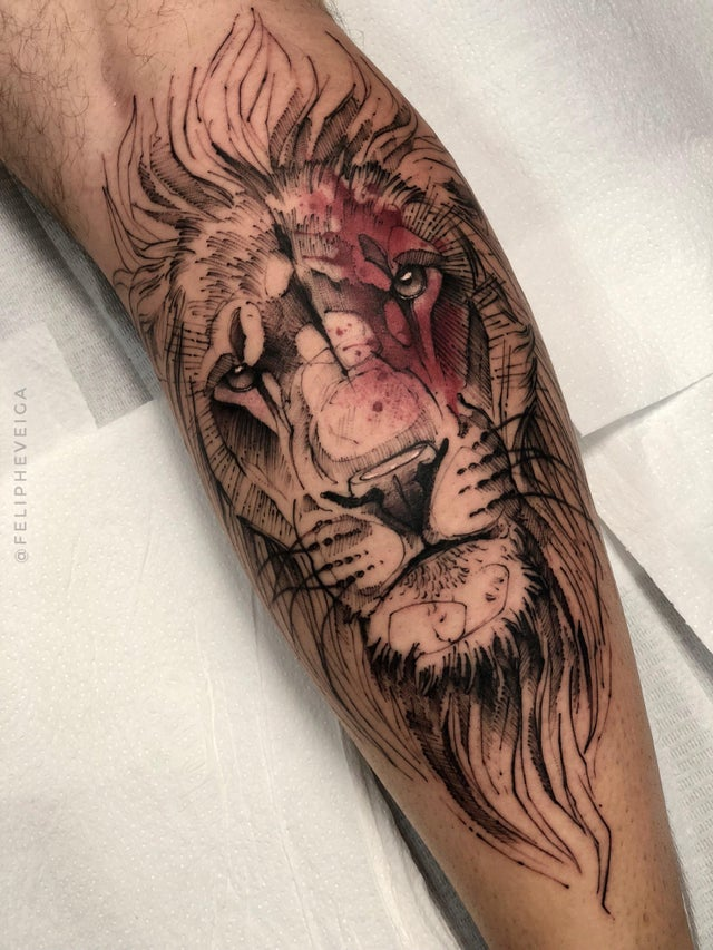 Large Lion Head Tattoo with Subtle Coloring