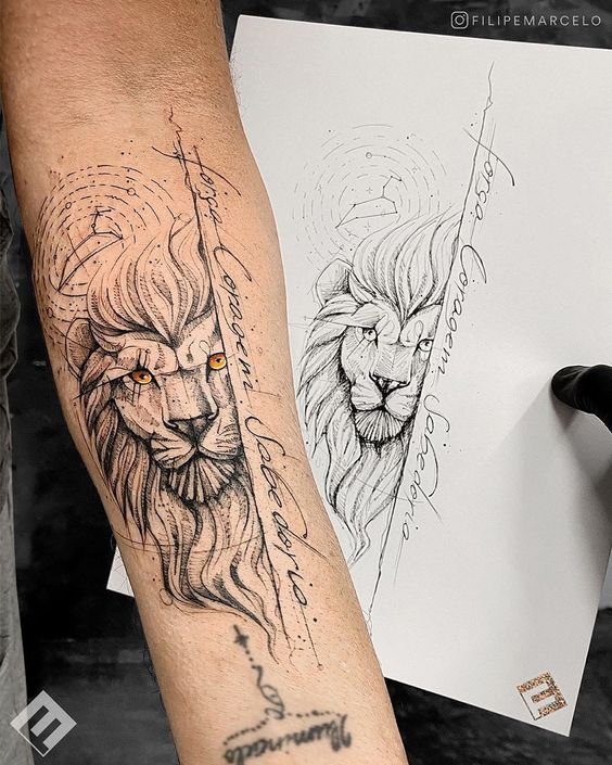 Yellow-Eyed Lion Face Tattoo with Script