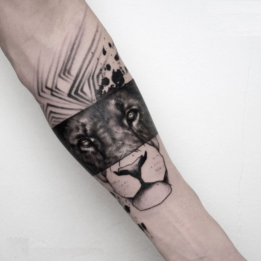 Three Styles in One Lion Face Tattoo