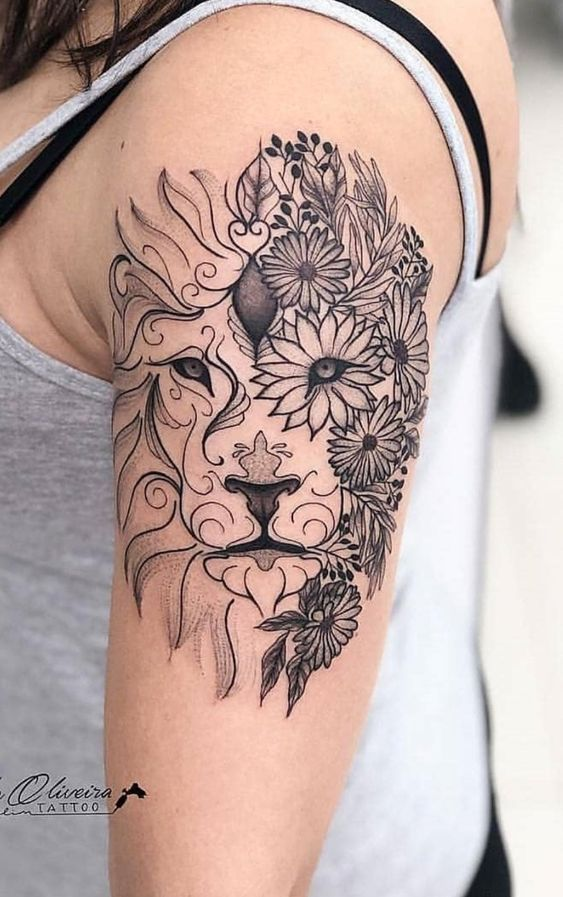 Abstract Art Lion Face Tattoo with Flowers