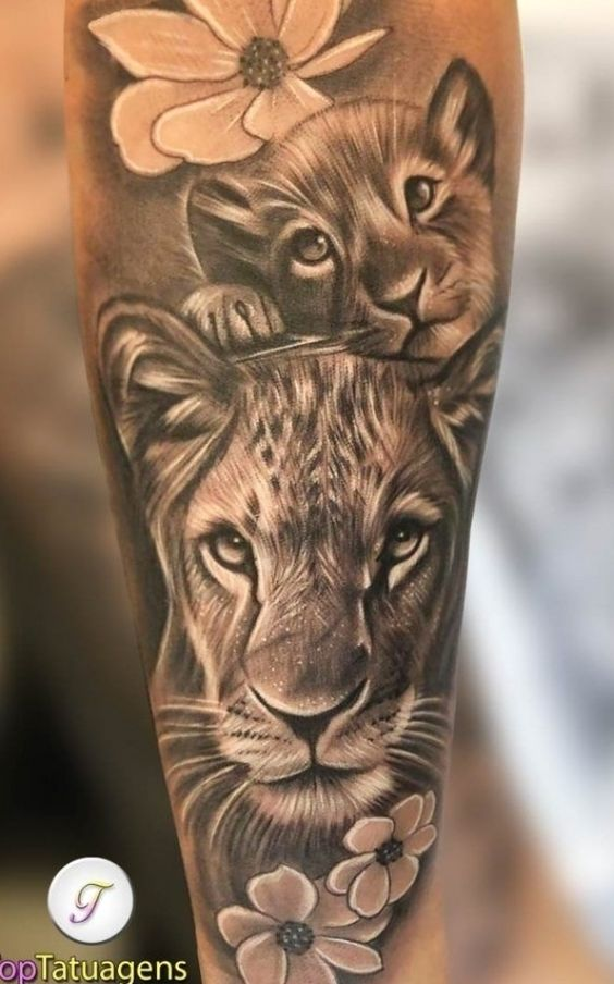 Mother and Baby Lion Tattoo in Grayscale