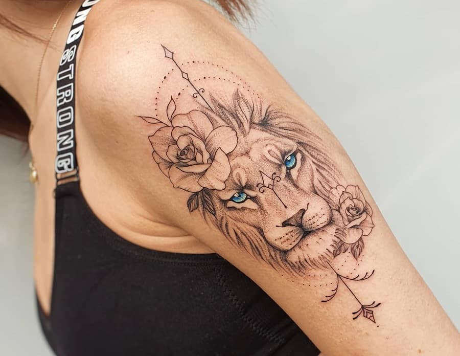 Blue Eyed Lion Face with Rose Tattoo
