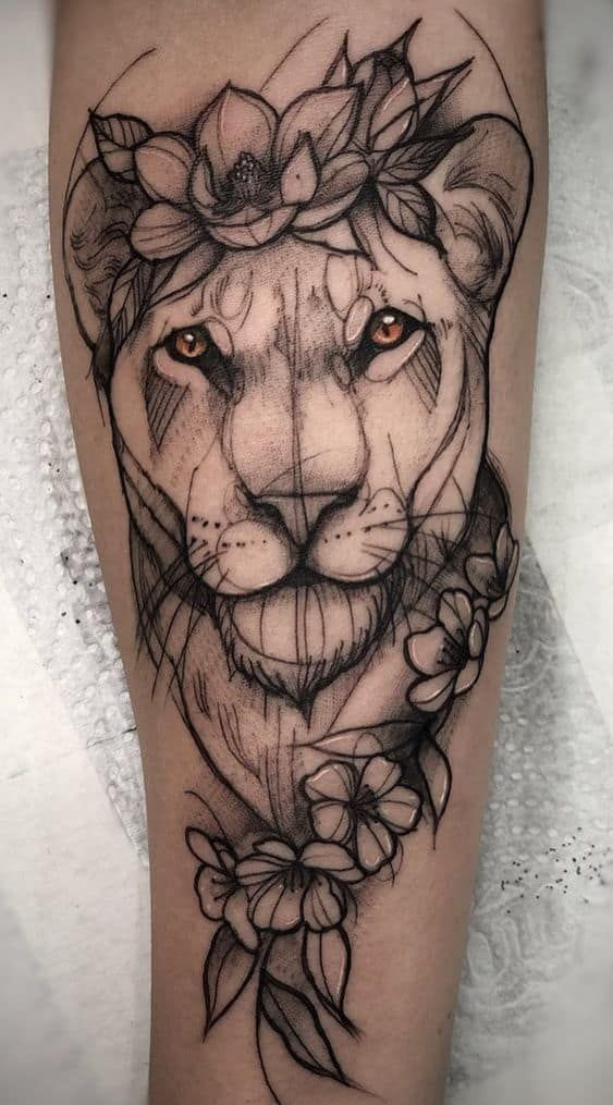 Lioness with Crown of Flowers Tattoo