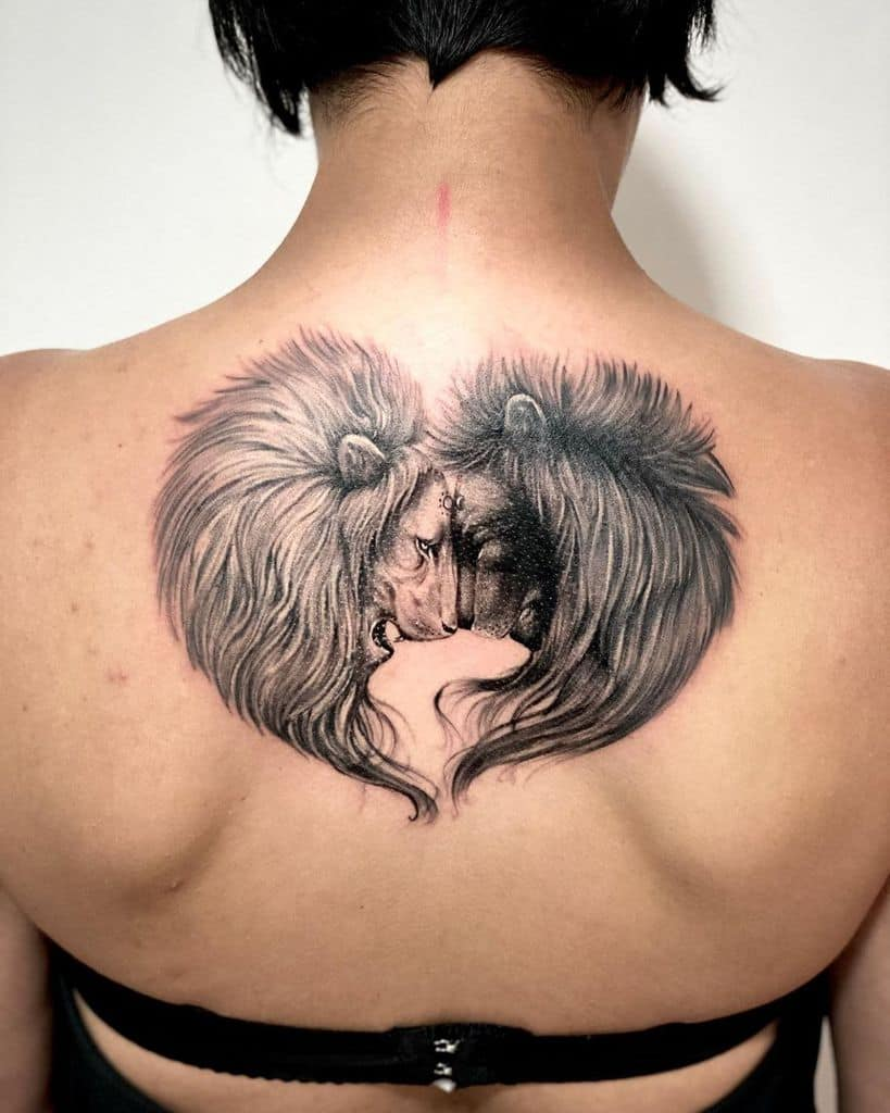 Two Lions Heads Forming Heart Tattoo