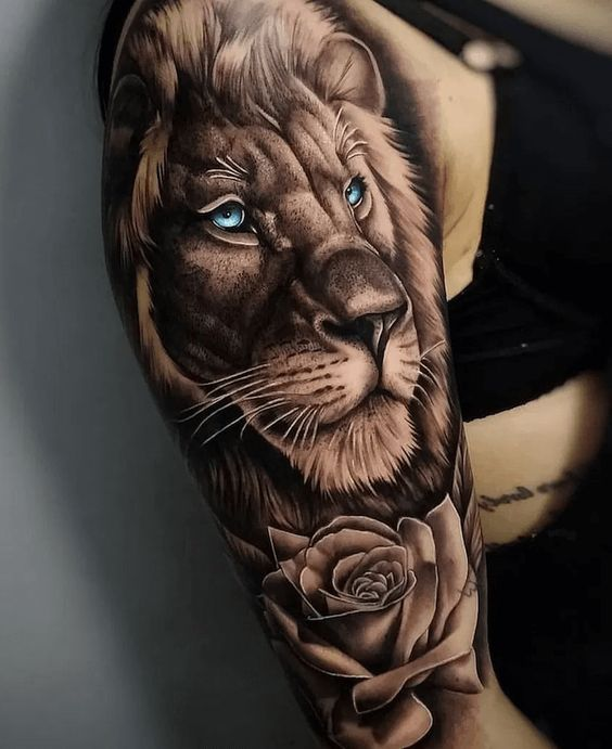 Realistic Lion Head Tattoo with Blue Eyes
