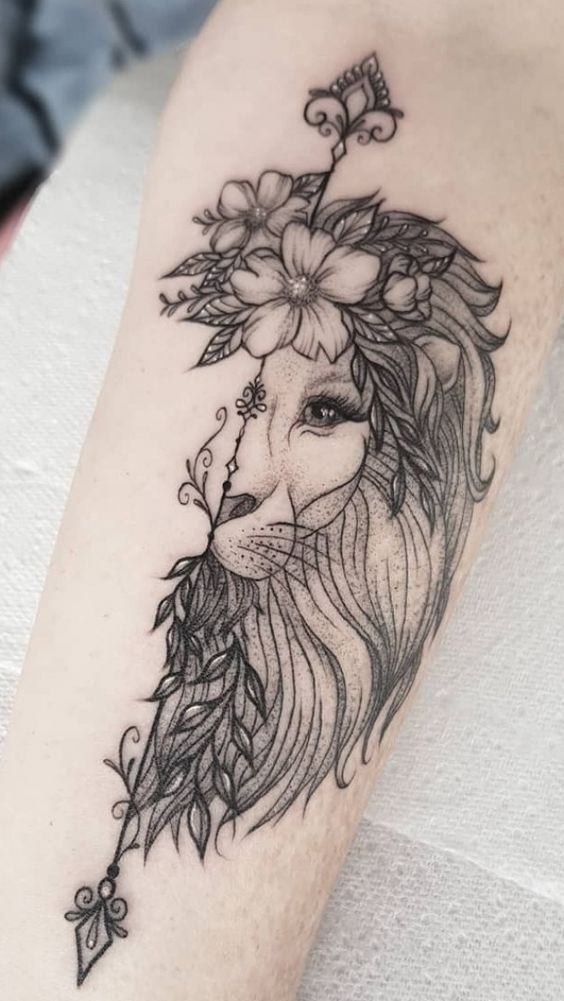 Half Lion Face Tattoo with Flowers