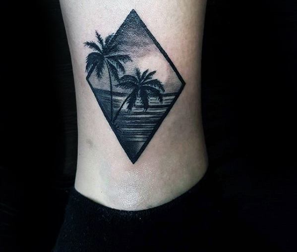 Palm Trees and Ocean in a Diamond