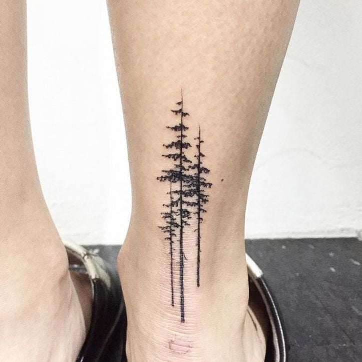 Sketchy Trees On Back of Ankle