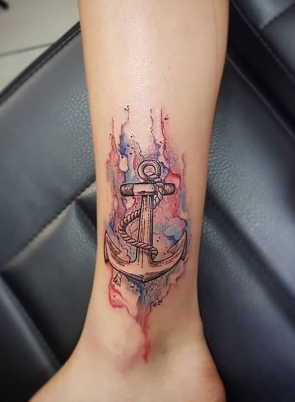 Anchor Surrounded by Red and Blue