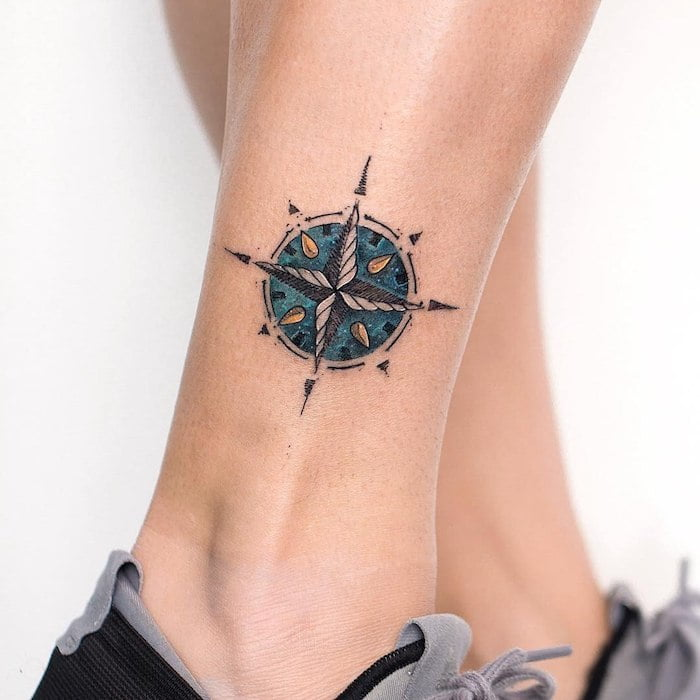 Colorful Compass Rose on Ankle