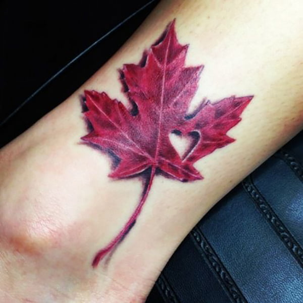 Red Maple Leaf with Heart Cut-out