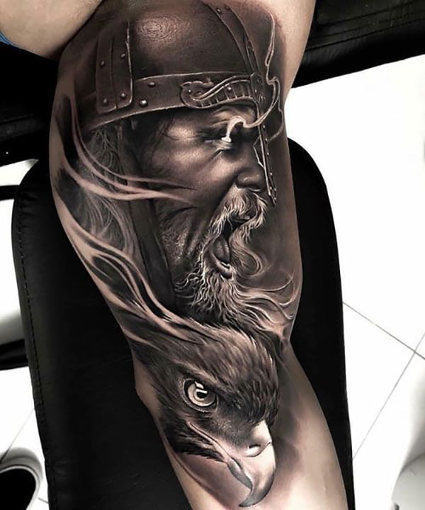 Viking with Glowing Eyes Over Bird