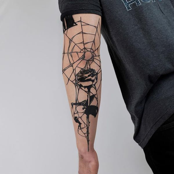 Spider Web Melds with Rose
