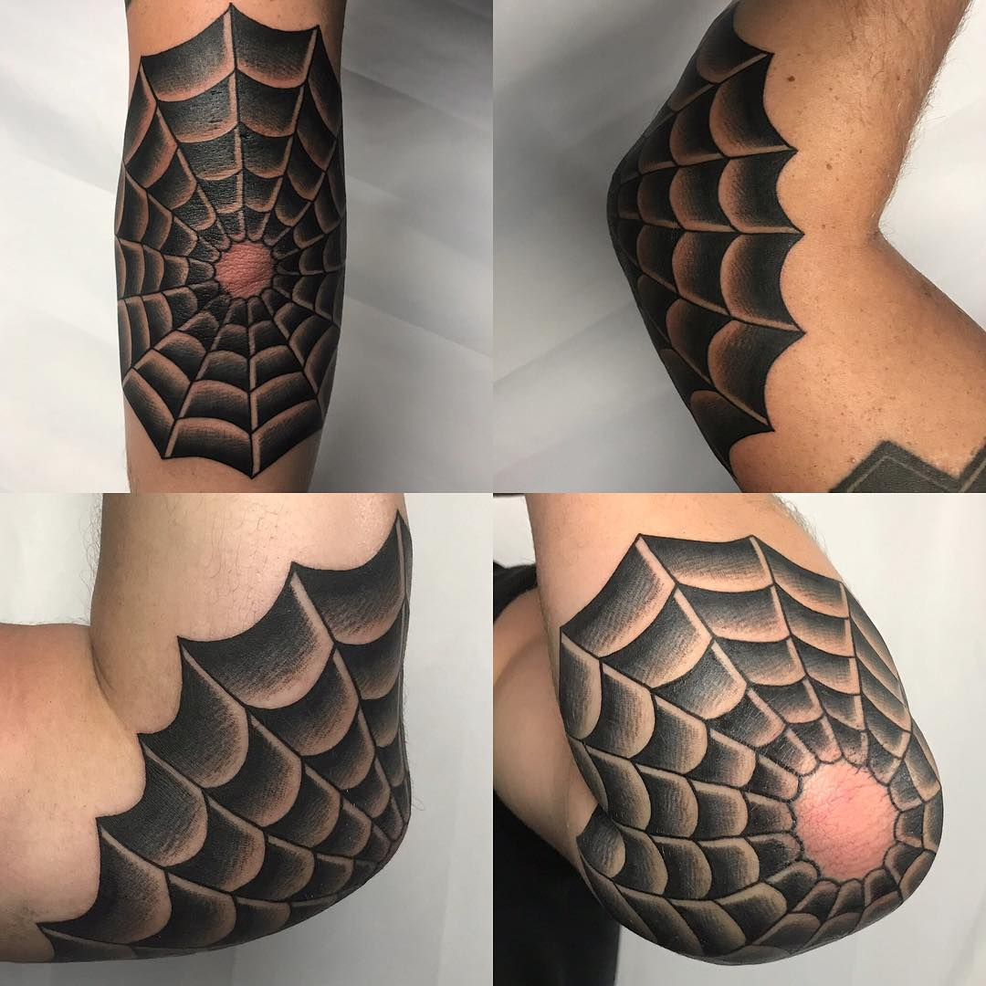 Spider Web with Blank Space Over Elbow Tip