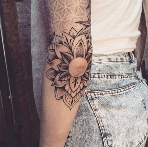 Flower Petals and Leaves Around Elbow