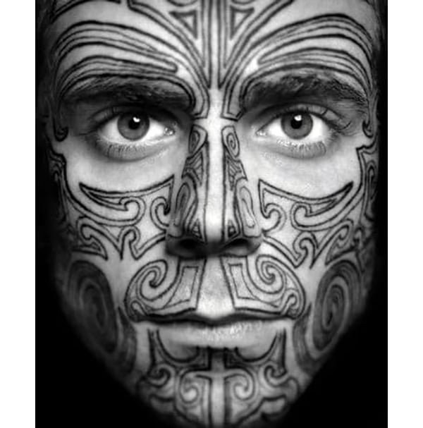 Tribal Lines Outlines Full Face Tattoo