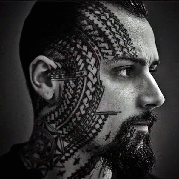 Tribal Celtic Knot Lines Face Tattoo