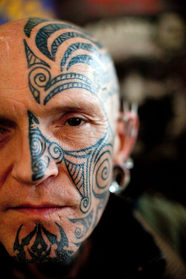 Half Face Tribal Lines Face Tattoo