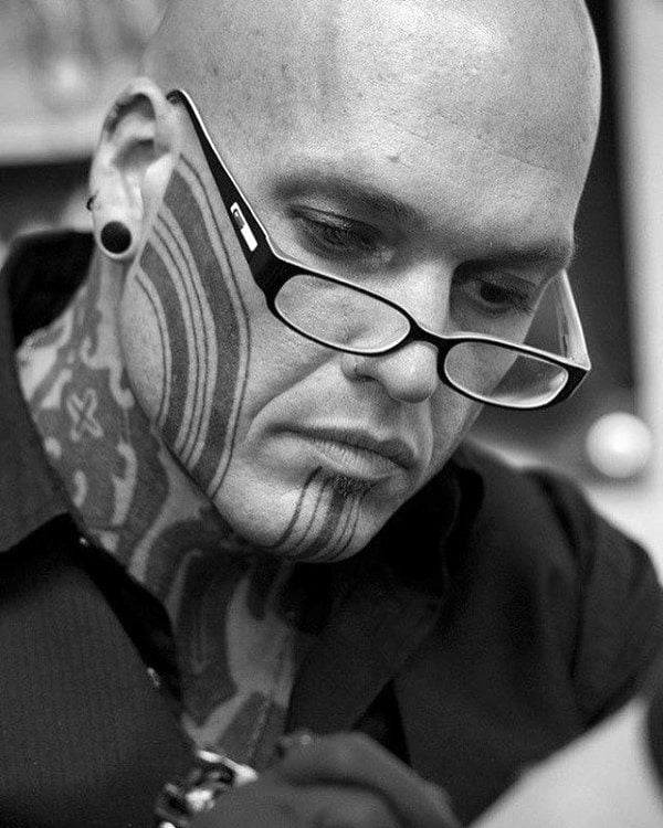 Thick Lines Thin Lines Face Tattoo