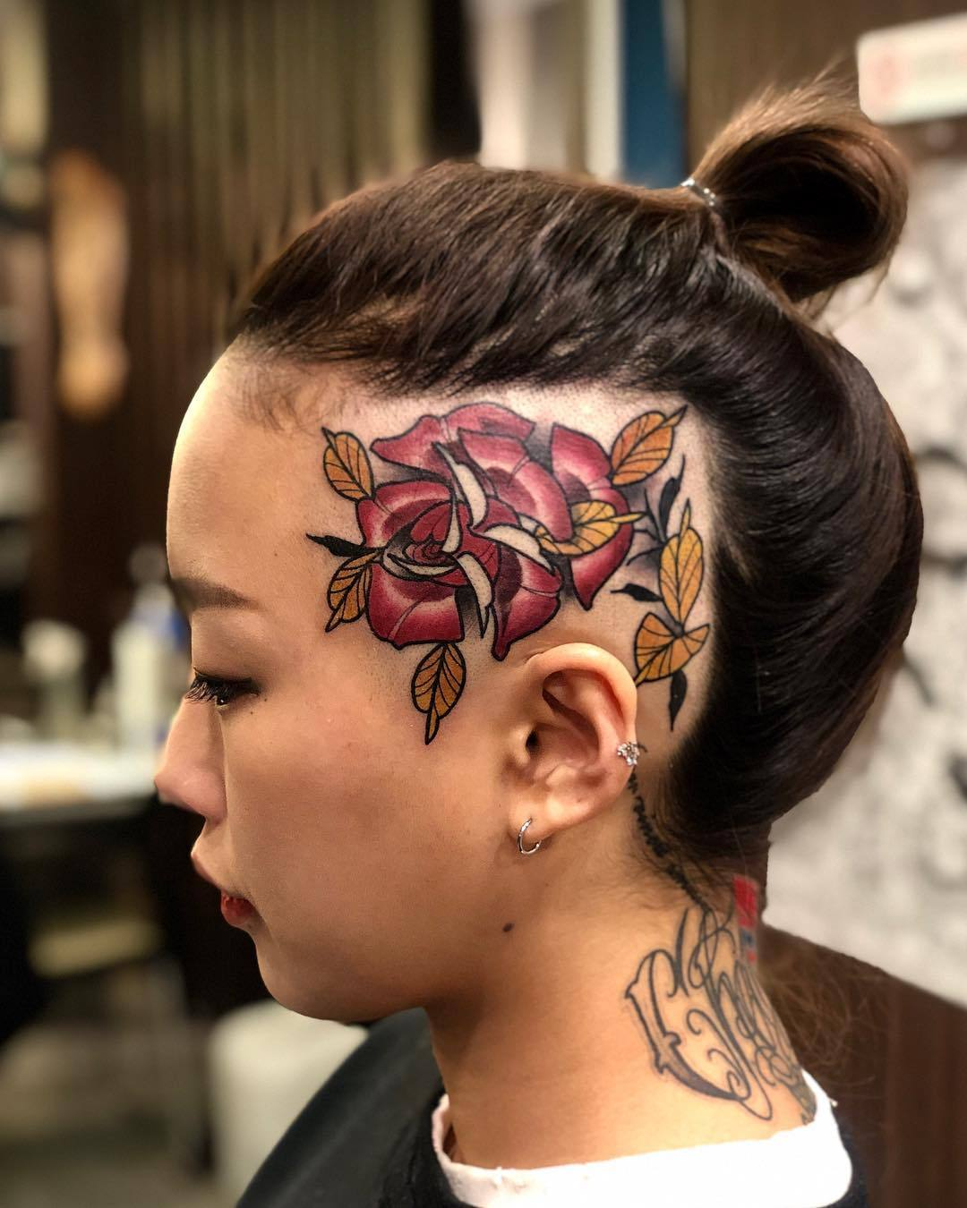 Red Rose Golden Leaves Face Tattoo
