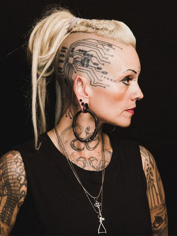Electronic Circuit Computer System Face Tattoo