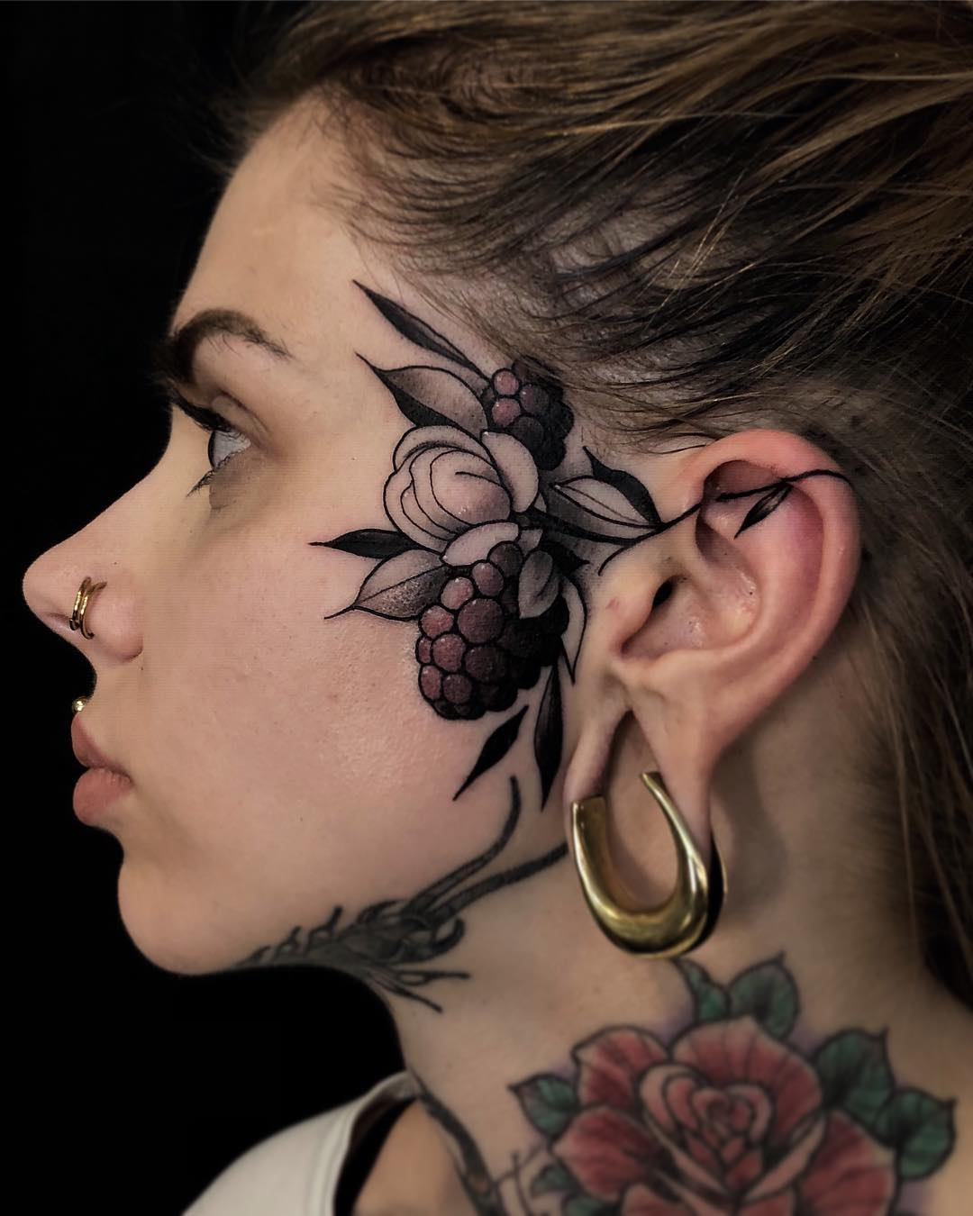 Selective Color Floral Berries Face Tattoo