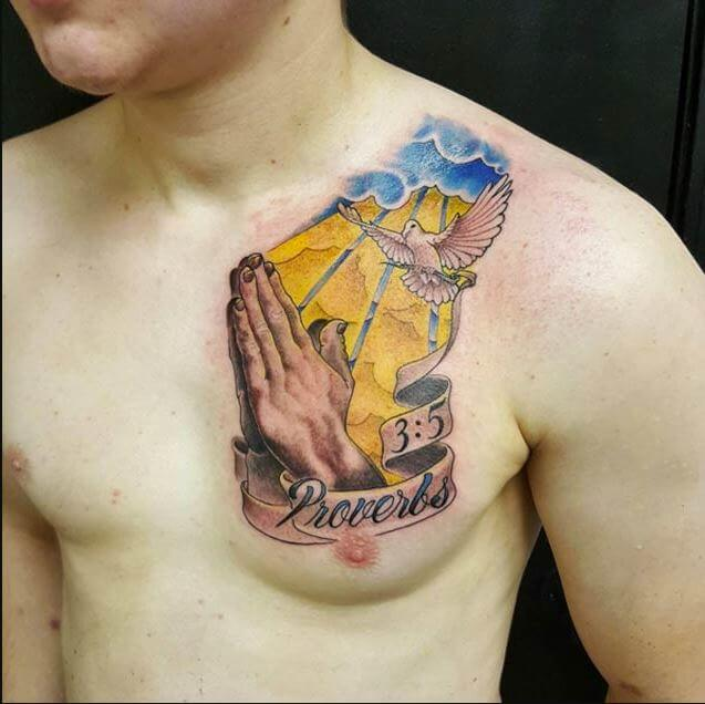 Proverbs 3 5 Praying Hands Dove Tattoo
