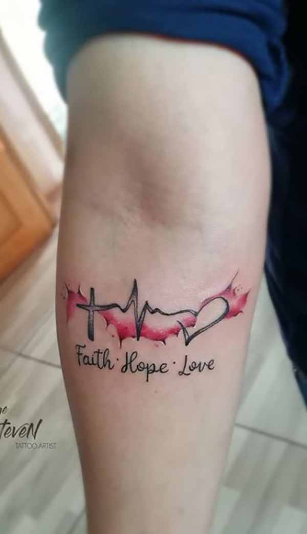 Symbol and 3-Word Tattoo with Red Accent