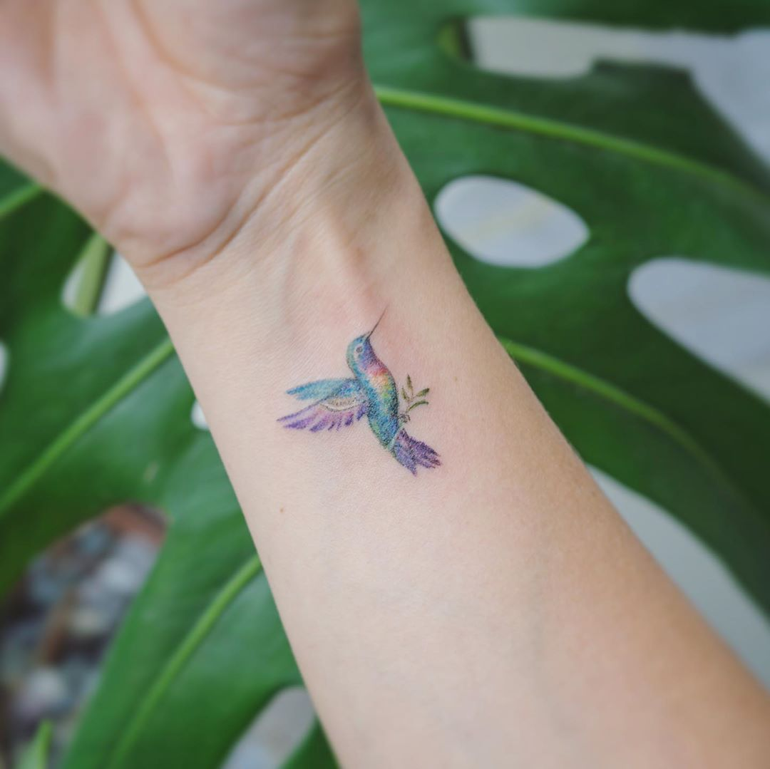 Pastel Hummingbird Holding an Olive Branch