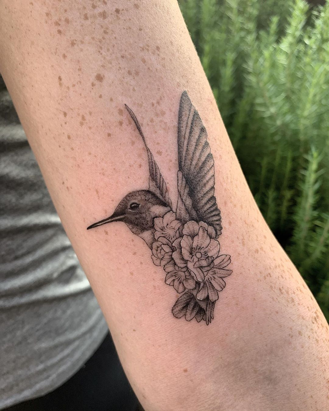 Hummingbird with a Body Made of Flowers
