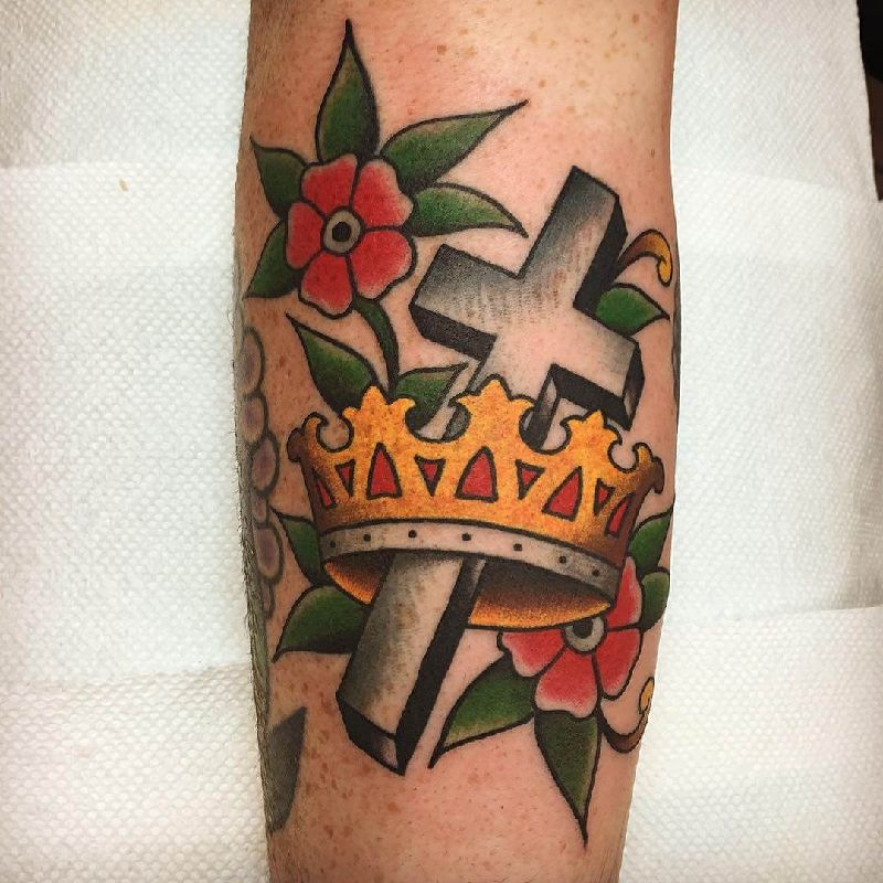 Colorful 3D Cross with Flowers and a Crown