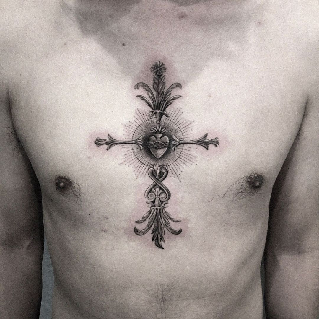 French Cross Tattoo with a Crown of Thorns