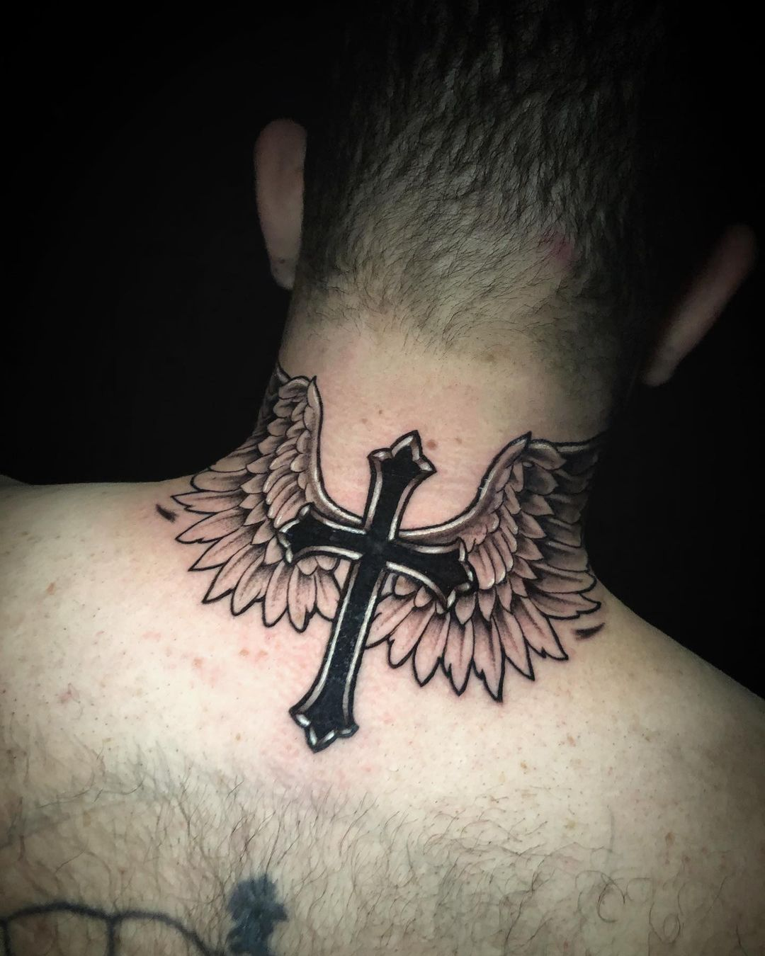 Beautiful Black and Silver Cross with Angel Wings