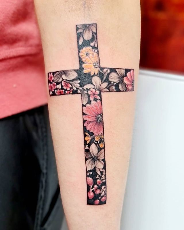 Black Forearm Cross with Colorful Flowers