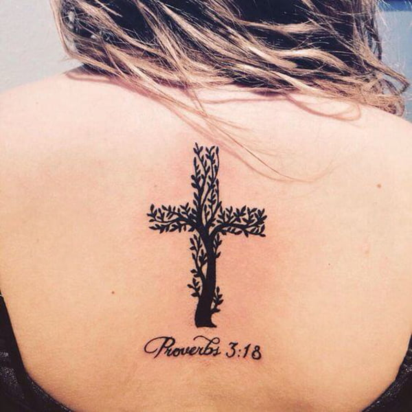 Tree of Life Tattoo with Proverbs Bible Verse