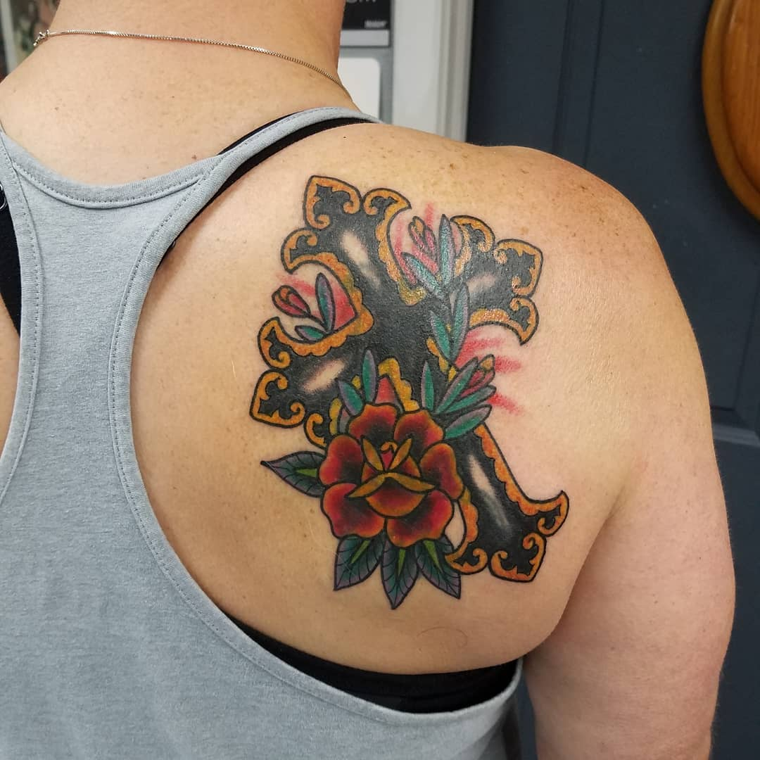 French Style Cross and Flower Tattoo