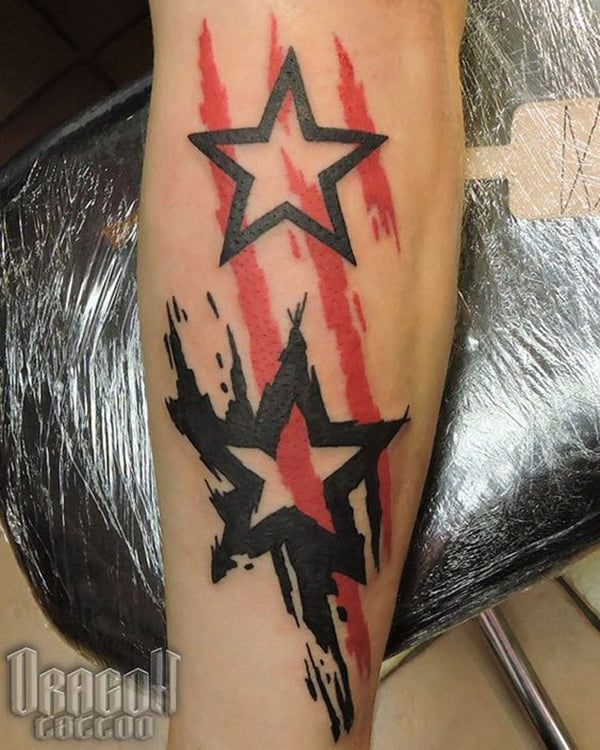 Clean Outline Star and Smudged Star