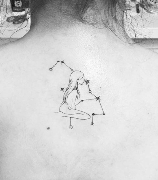 Outline of a Woman and Constellation