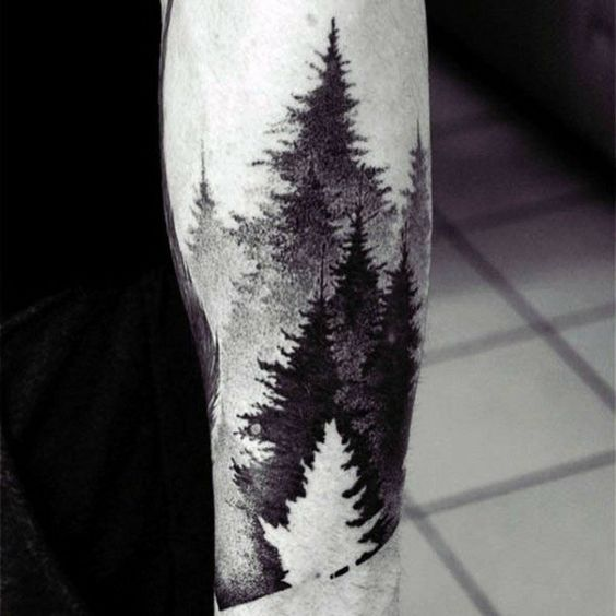 Japanese Watercolor Effect Negative Space Forest