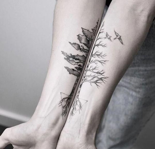 Winter and Summer Mirror Image Ink