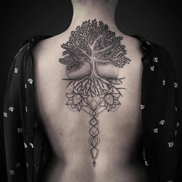 A Magical Multi-Part Tree Root Tattoo