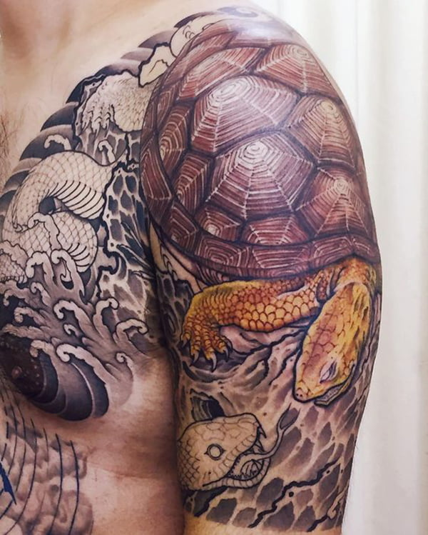 Tortoise and Snake with Partial Color