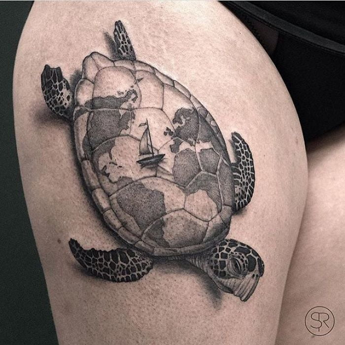 Sea Turtle with Continents on Back