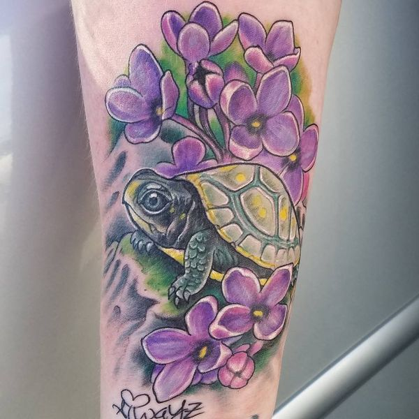 Tiny Turtle with Purple Flowers