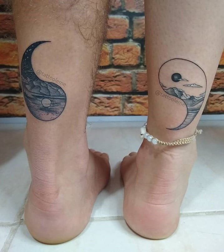 Land and Sky Grayscale Couples Yin-Yang Tattoo