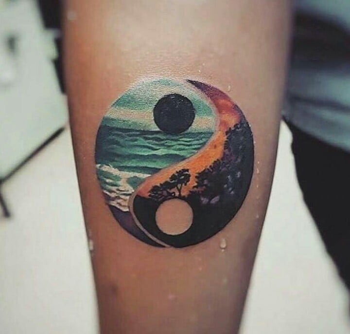 Forest and Ocean Yin-Yang Color Tattoo
